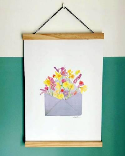 Bloemenkaartje Poster