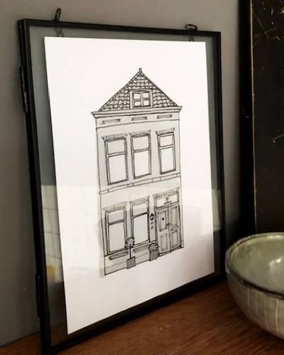 Huisportret Illustratie Ingelijst