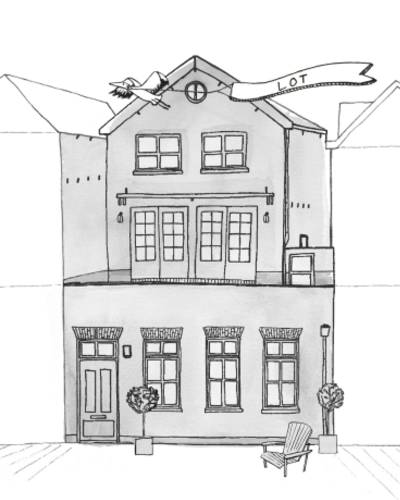 Persoonlijk getekend huisportret Lot