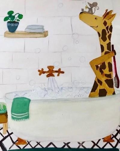 Giraf in Bad Kinderboek Illustratie